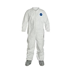 Coverall, Zipper Front, Attached Tyvek FC® Friction Coated Boots, Elastic Wrists. White