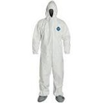 Coverall, Zipper Front, Attached Hood &Tyvek FC® Coated Boots, Elastic Wrists.White