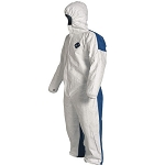 Coveralls; white; with hood, elastic wrists and ankles; surged seams